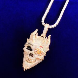 Skull Demon Iced Drip Pendant With Hip Hop Necklace Chain Rock Jewelry