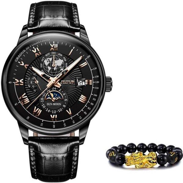 Top Brand JSDUN Luxury Men's Mechanical Wristwatch Automatic Watch Men Classic Moon Phase Leather Waterproof Military Wristwatch
