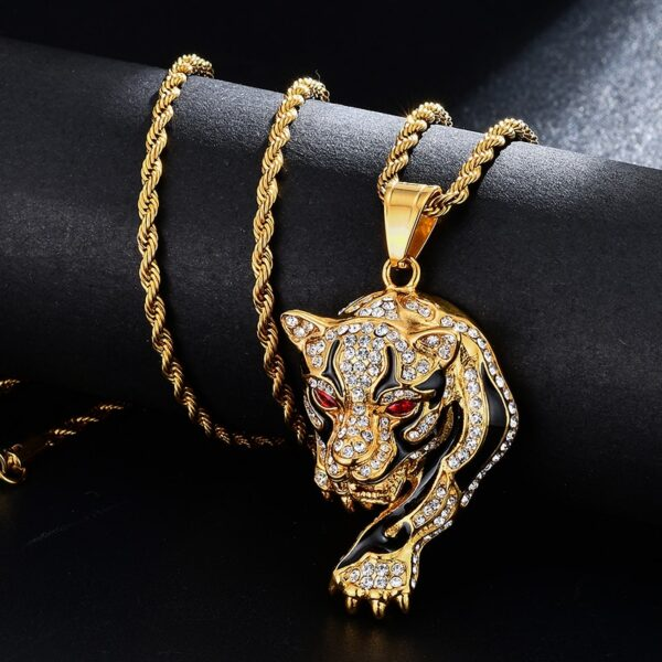 Iced Red Eye Tiger Charm Pendant With Rope Necklace Chain