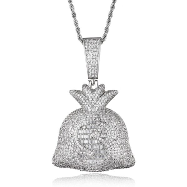 AAA Iced Out Money Bag Heavy Dollars Solid Pendant & Necklace
