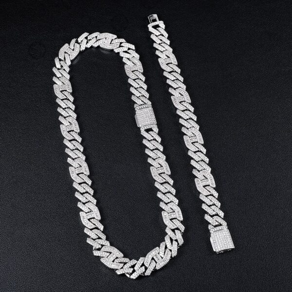 14MM 2 Row Heavy Prong Curb Link Chain 2 Set Chain/Bracelet Fashion Jewelry