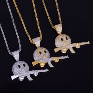 Cartoon Round Face With AR Iced Pendant With Necklace Chain