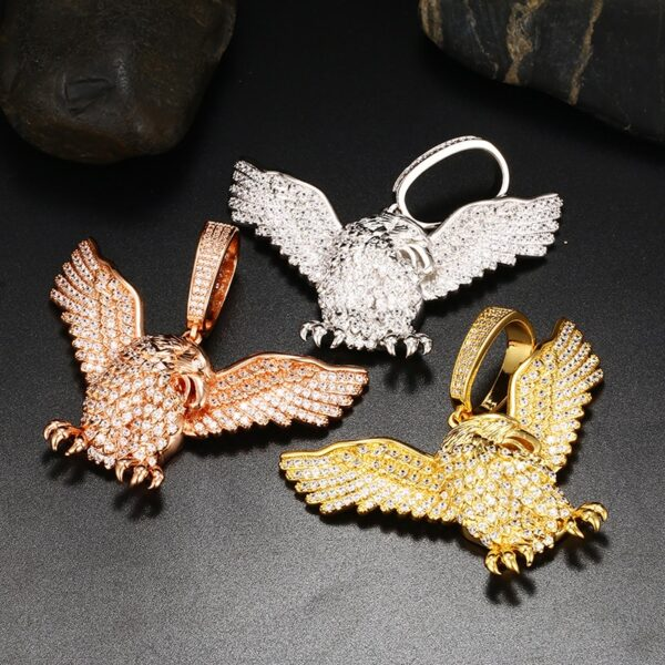 American Patriotic Iced Eagle Charm Pendant With Necklace