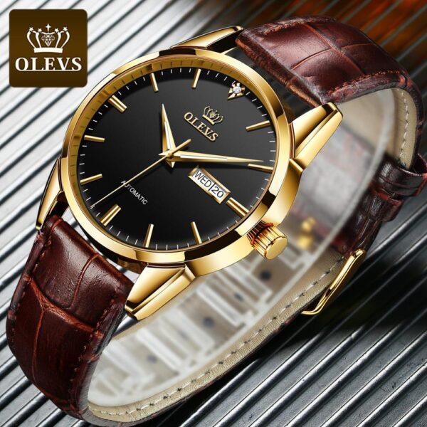 OLEVS New Men's Watches Classic Mechanical Leather Watch Men Luxury Men Automatic Watches Business Waterproof Clock Man 6629