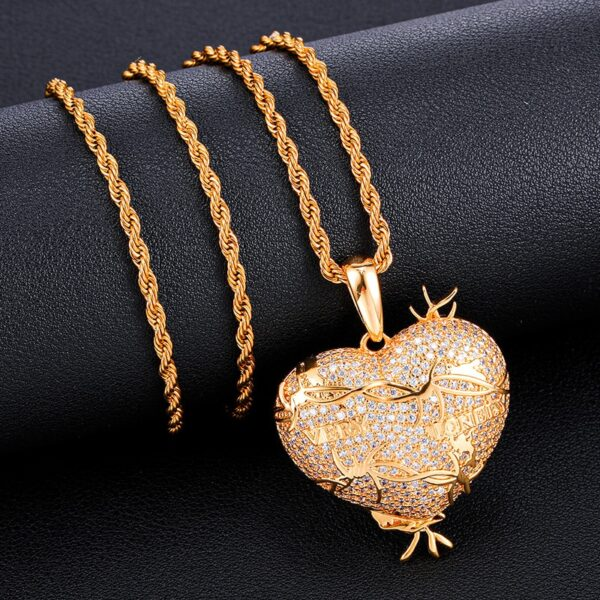 Heart Silver/Gold Charm Pendant With Necklace Jewelry Set