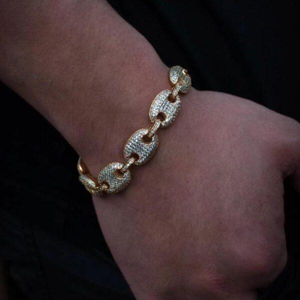 Men's Iced Out Gucci Mariner Link Bracelet