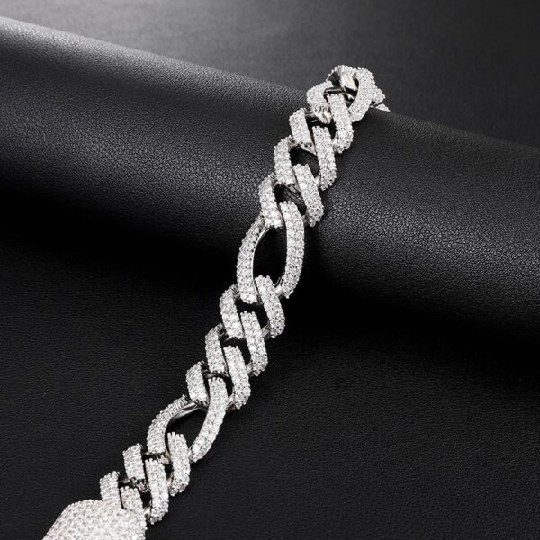 18MM 2 Row Iced Out Box Buckle Figaro Cuban Chain Necklace Fashion Jewelry