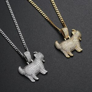 "Iced Out Goat Charm Pendant Gold/Silver With 24"" Cuban Link Chain"