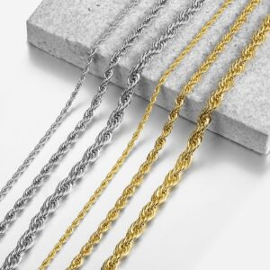 "Fashion Jewelry Gold Silver Color Chains 3/5/7mm 22"" Twisted Rope Necklace"