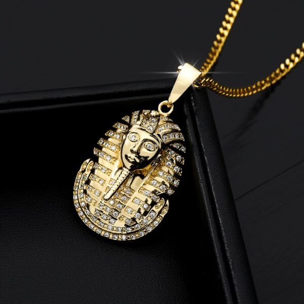"""Iced Out Egyptian Pharaoh Charm Pendant 18"""" Link Choker Necklace Chain"""
