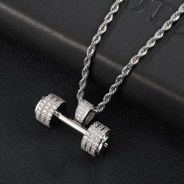 Iced Jewelry Barbell Gym Fitness Dumbbell Gold/Silver With 60cm Rope Chain