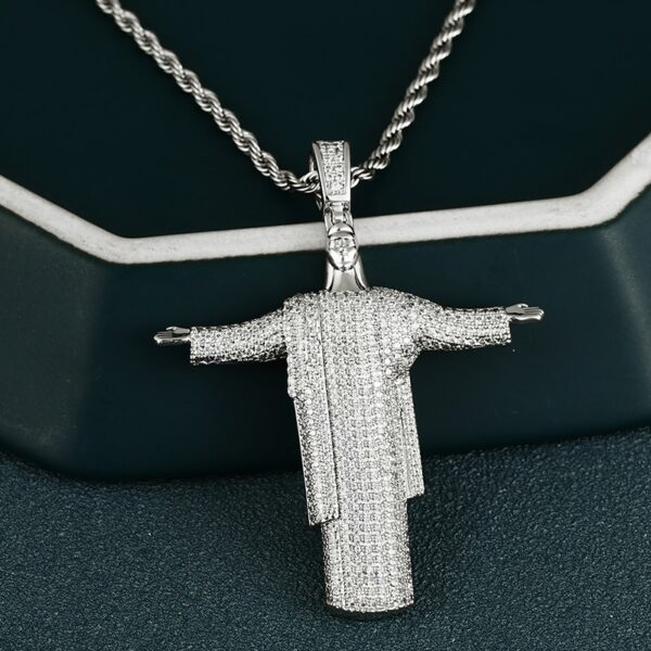 Open Hand Jesus Piece Pendant Necklace Full Iced With Necklace
