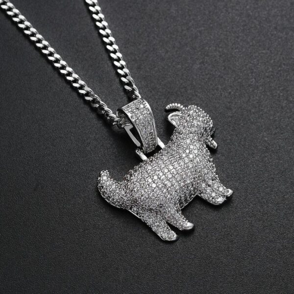 """Iced Out Goat Charm Pendant Gold/Silver With 24"""" Cuban Link Chain"""