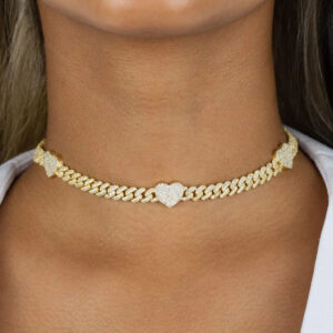 Women's Iced Heart Charm Cuban Link Choker Necklace