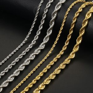 Fashion Jewelry Gold Silver Color Chains 3/5/7mm 22