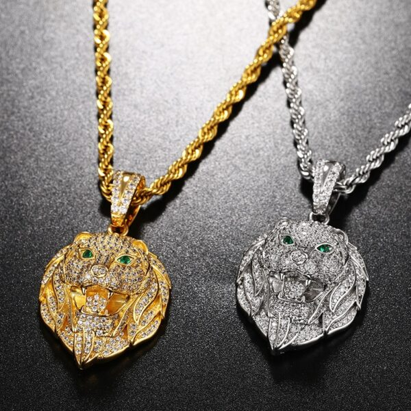 Green Eyed Iced Lion Head Pendant With Necklace