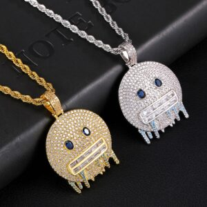 Iced Smiley Face Charm Pendant Silver/Gold Fashion Jewelry And Necklace Chain