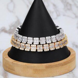 12mm Tennis Bracelet Square Stone Link Sizes 7-8 Inch