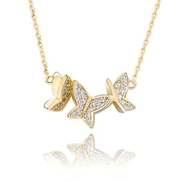 Women's Fashion Jewelry Gold/Silver Butterfly Charm Pendant With Necklace