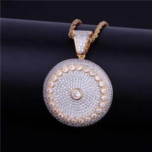 Round Icy Solitaire Circle Medallion Pendant With Necklace