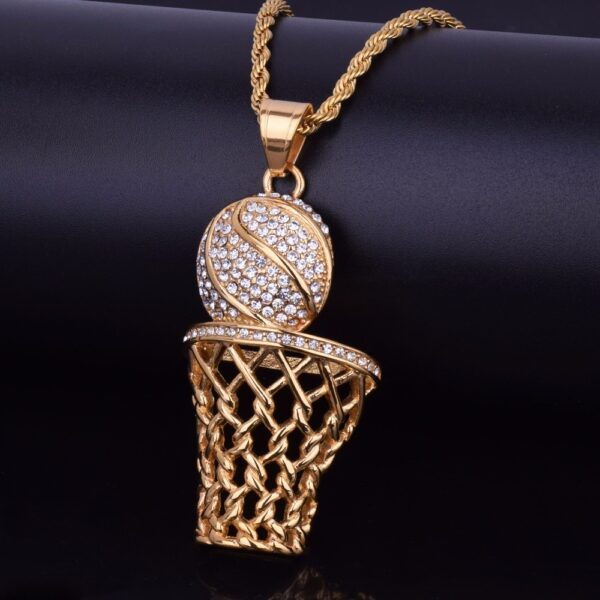 Sports Basketball Icy Pendant With Necklace