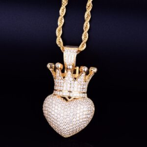 Crown Heart Icy Charm Pendant With Necklace