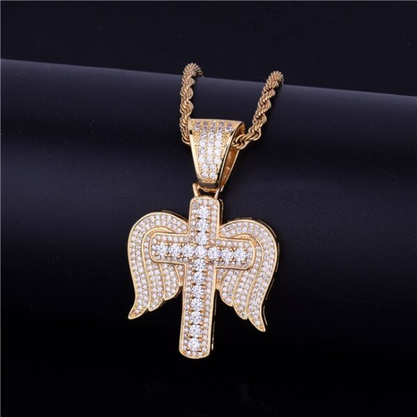 Angel Wings Cross Icy Pendant With Necklace
