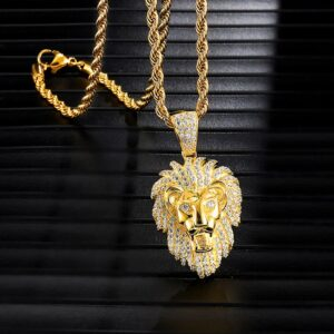 Icy Lion Face Charm Pendant Gold, Silver Color Rope Chain Necklace