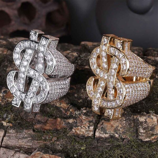 Iced Out Men's Money Dollar Sign Micro Pave Cubic Zircon Pinky Ring Sizes 7 - 11