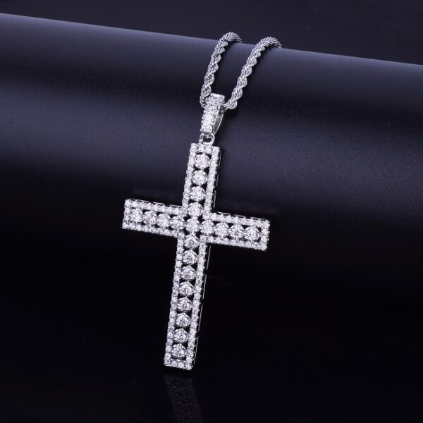 Icy Cross Crucifix Charm Pendant With Necklace