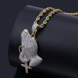 Praying Hands Iced Charm Pendant With Necklace Fashion Jewelry