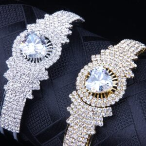 Iced Heart Bridal Cuff Bangles Bracelet Ladies New Fashion Jewelry