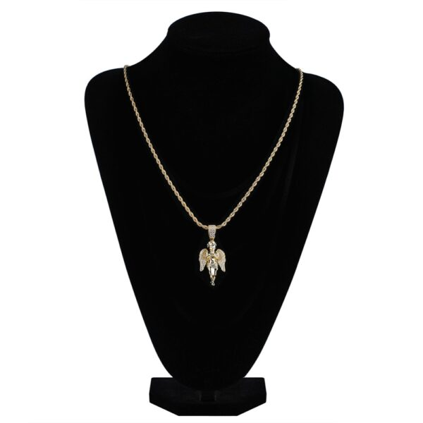 "Angel Iced Charm Pendant With 18"",20"",24"" Or 30"" Rope Chain Necklace"