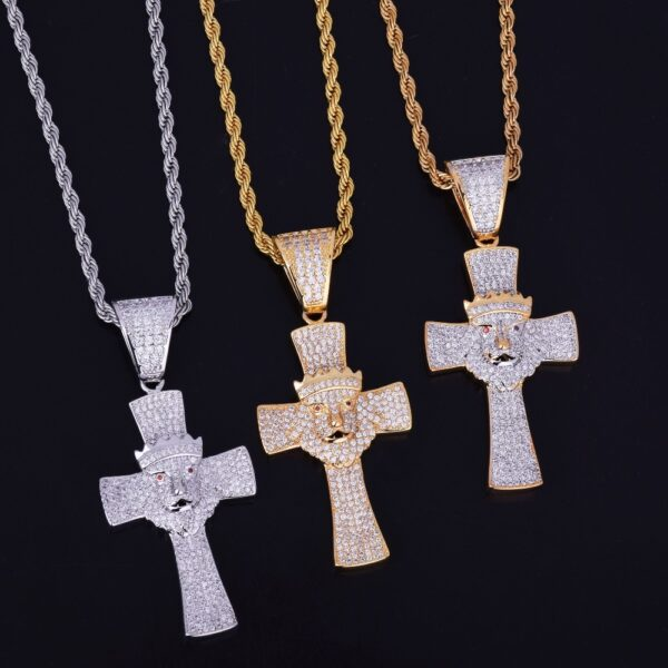 Iced Religious Cross With Lion Head Crown Necklace & Pendant Chain Charm Gold Color Cubic Zircon Men's Hip Hop Jewelry