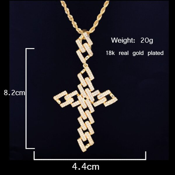 Fashion Link Cross Crucifix Iced Pendant With Necklace