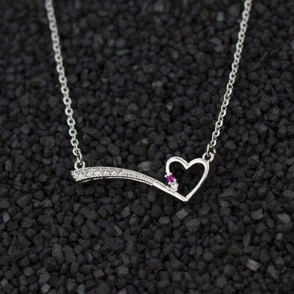 Love Heart Violet Crystal Charm Necklace Pendant