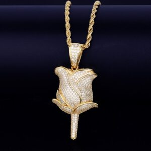 Flower Petal Charm Pendant With Necklace Fashion Jewelry
