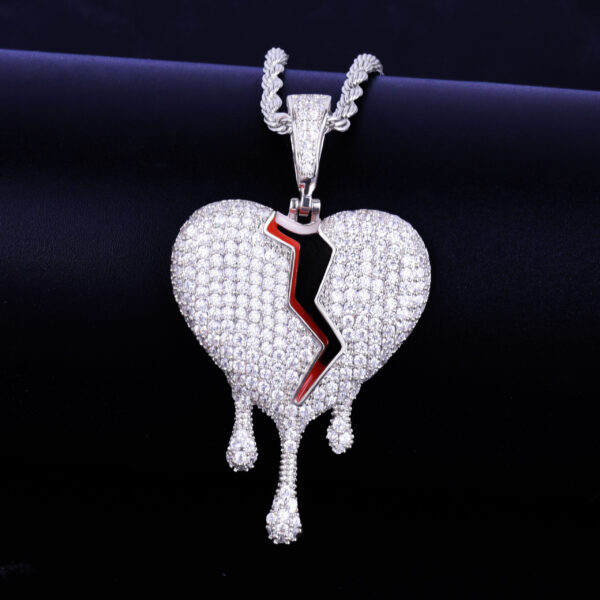 Broken Heart Ice Drip Charm Pendant With Necklace
