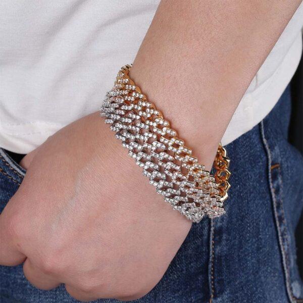 "Men's Thick Miami Iced Cuban Link Bracelet Sizes 7"" To 9"" Fashion Jewelry"
