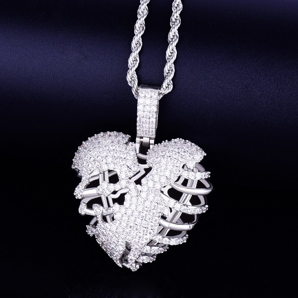 Broken Skeleton Heart Iced Pendant With Necklace