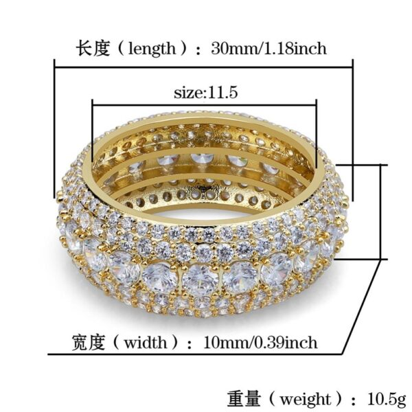 Men's Bling Round 10mm Gold/Silver Color Pinky Rings