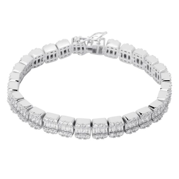 12mm Tennis Bracelet Square Stone Link Sizes 7-8 Inch