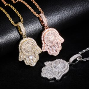 Hamsa Hand Iced Charm Pendant Hand of God Fashion Jewelry