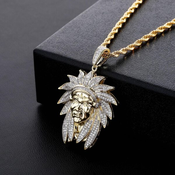 Men's Iced Out Chief Charm Pendant With Fashion Jewelry Necklace Chain
