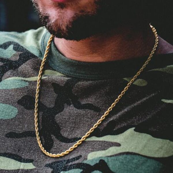 Gold Silver Color Stainless Steel Rope Link Cuban Link Necklace
