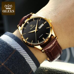 OLEVS New Men's Watches Classic Mechanical Leather Watch Men Luxury Men Automatic Watches Business Waterproof Clock Man 6629