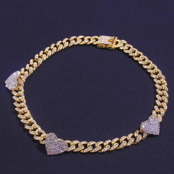 Women's Iced Heart Charm Cuban Link Choker Necklace