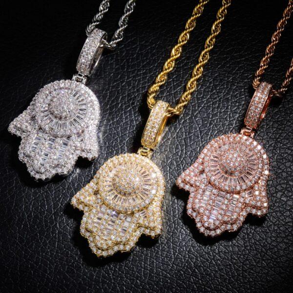 Hamsa Hand Iced Charm Pendant Hand of God Fashion Jewelry