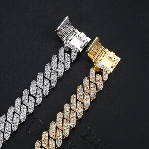 12MM Heavy Cuban Prong Link Chain Necklaces Box Buckle Fashion Jewelry