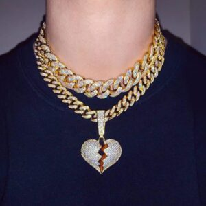 "Iced 18"" Cuban Link Chain With Broken Heart Icy Pendant"